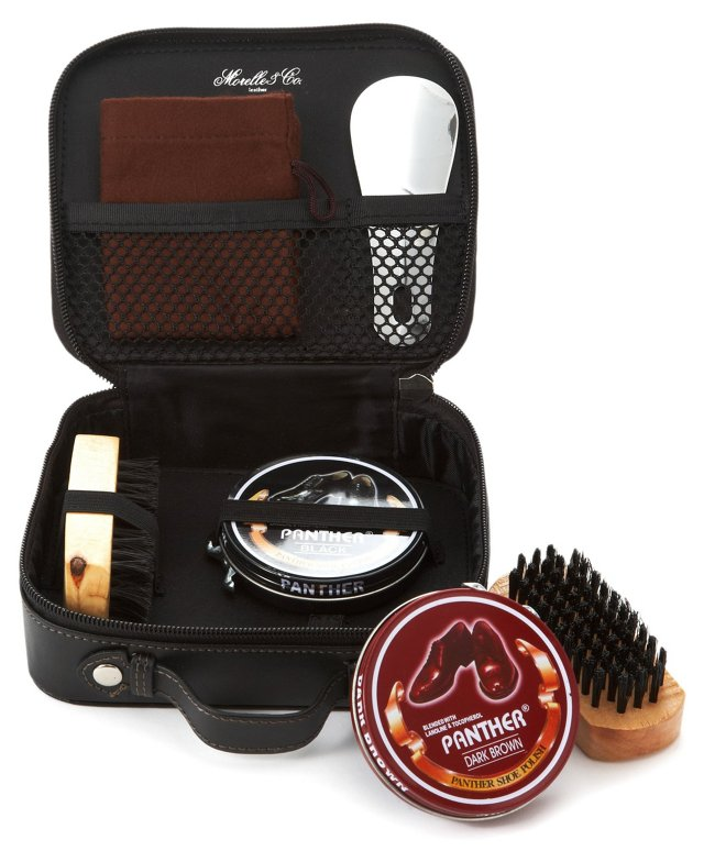 Leather Shoe Shine Kit, Black