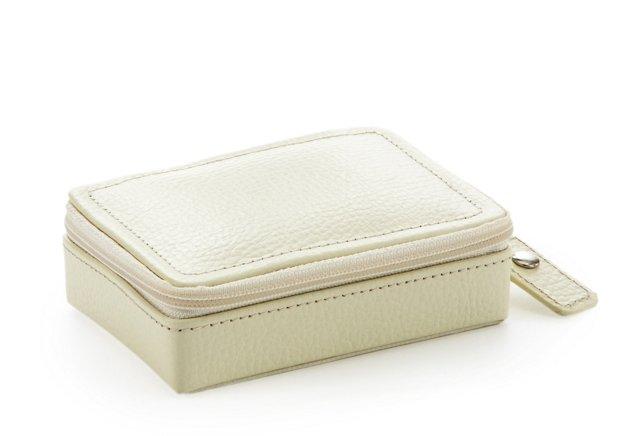 Vicky Leather Zip Jewelry Case, Cream