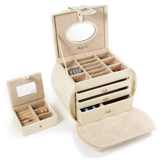 Diana Jewelry Box & Travel Case, Cream