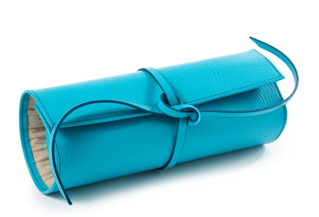 Leather Jewelry Roll, Turquoise