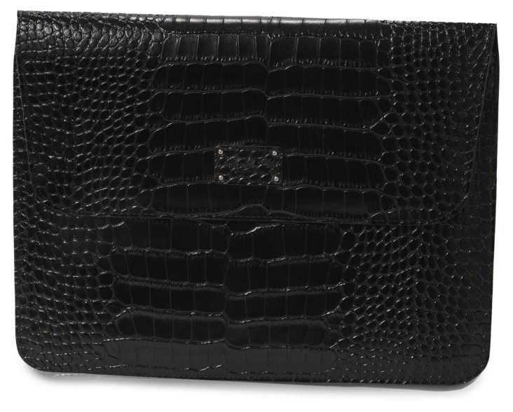 Croco Leather iPad Holder w/ Flap, Black