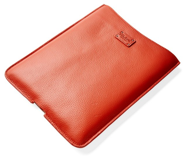 Leather iPad Holder, Coral