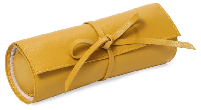 Carrie Leather Jewelry Roll, Mustard