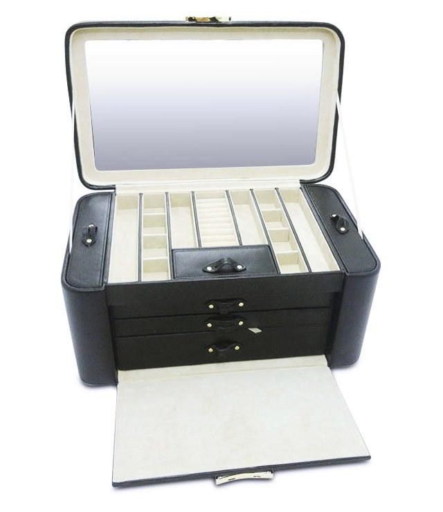 Alexis Large 2-Side Jewelry Box, Black