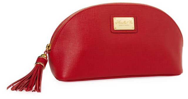 Miriam Leather Cosmetic Bag, Red