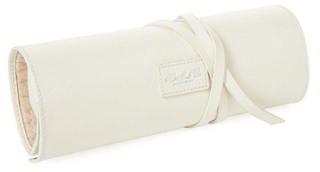 Carrie Saffiano Jewelry Roll, Cream