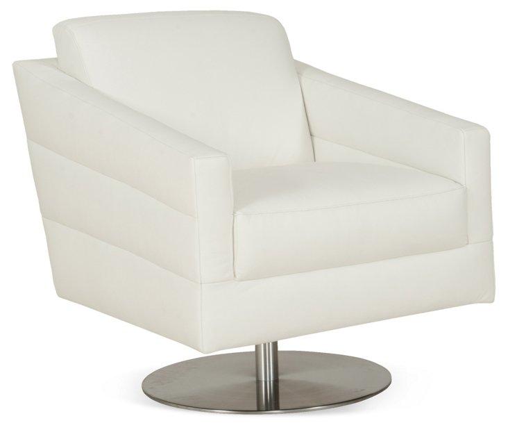 Hemingway Swivel Chair, White