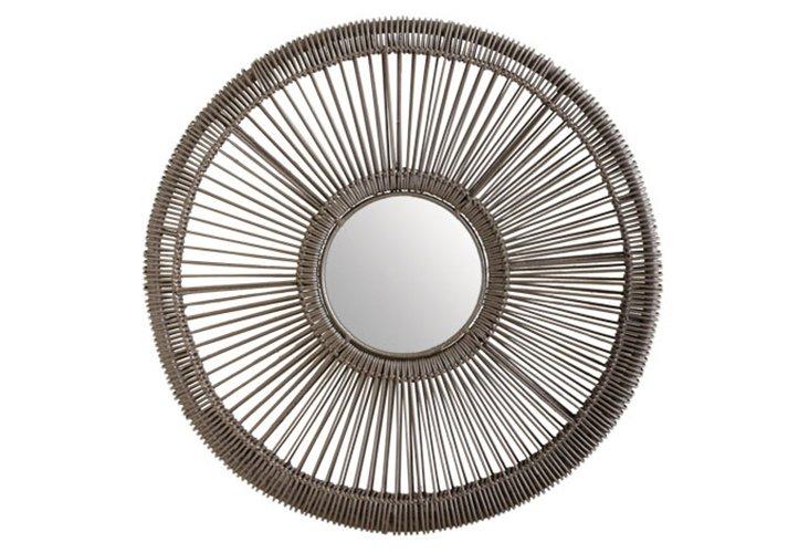 Gray Wicker Spoke Mirror