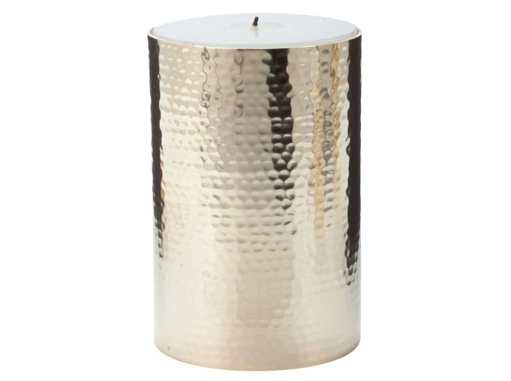 Gold Hammered Pillar Candle, Large