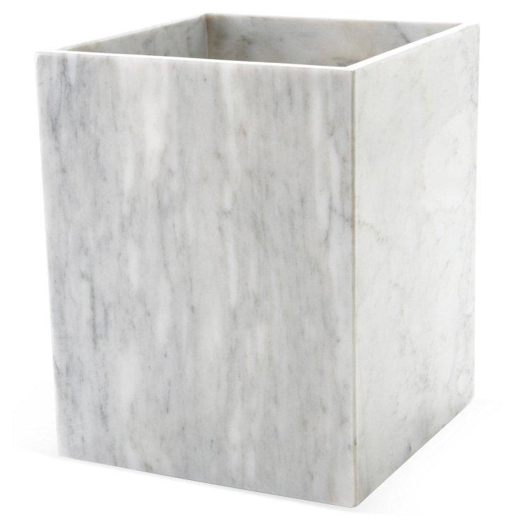 Palazzo Wastebasket, White Marble