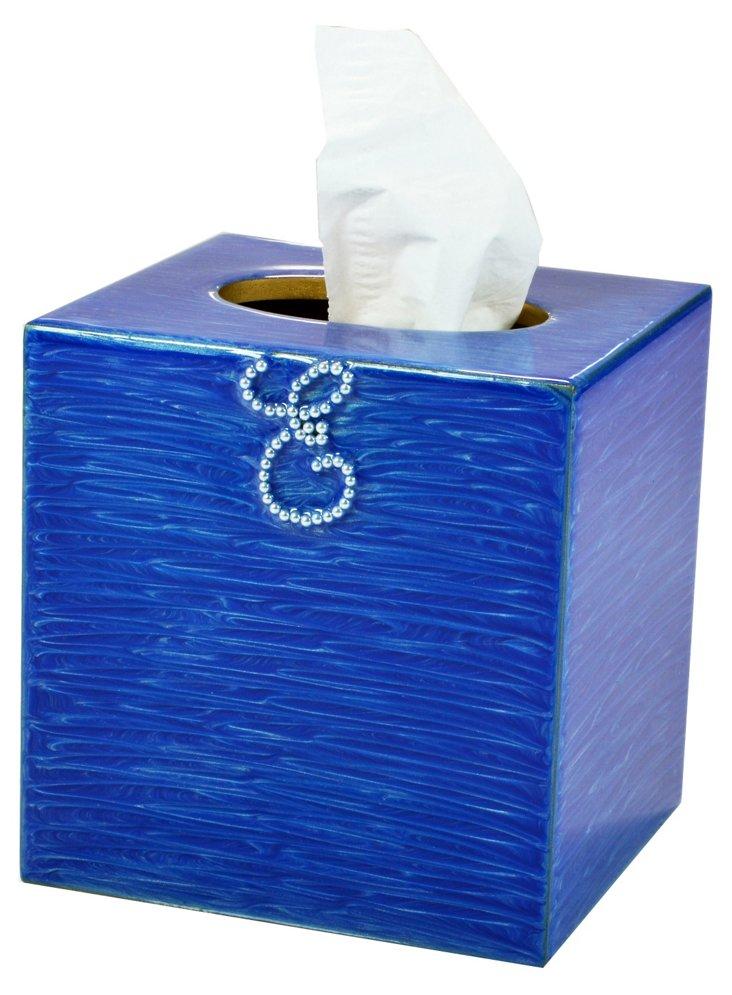 Ego Tissue Box, French Blue/Gold,