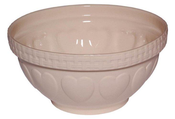 Romantic Heart Mixing Bowl, Cream