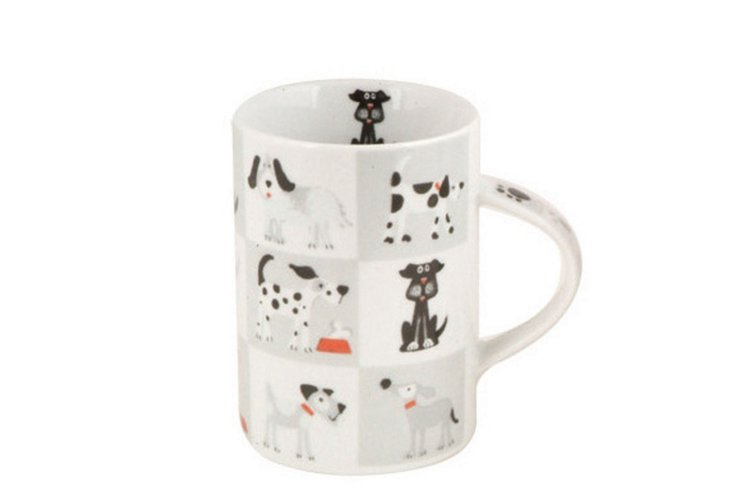 Set of 4 Chequered Dogs Mugs