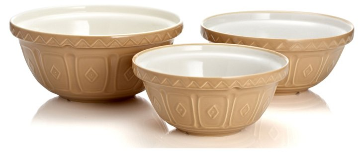 S/3 Assorted Mixing Bowls, Cane