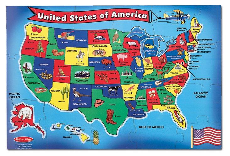 U.S.A. Floor Map, 51 piece