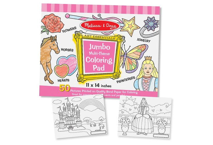 S/2 Jumbo Coloring Pad, Pink