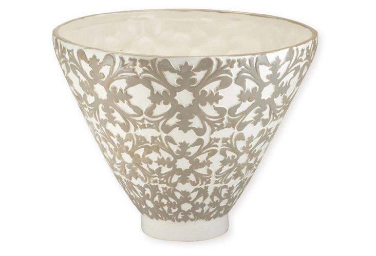 Tall Suzani China Bowl, Linen