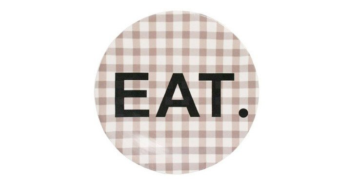 """S/4 Gingham """"Eat"""" Plates, Brown"""