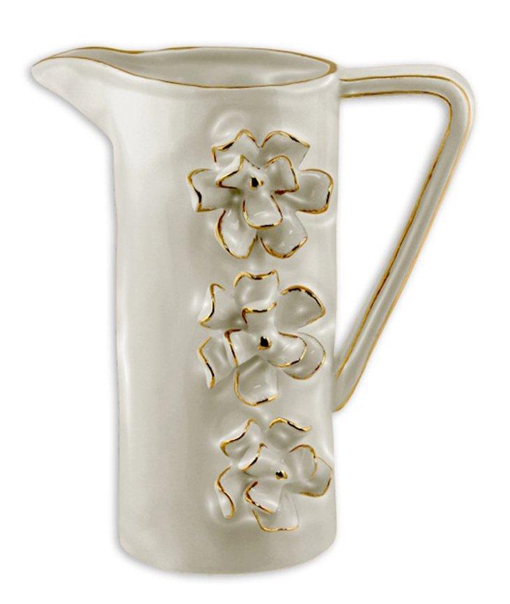 Ceramic Floral Pouring Vase, Oyster