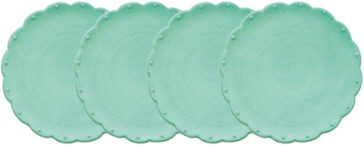 S/4 Scallop Dessert Plates, Green