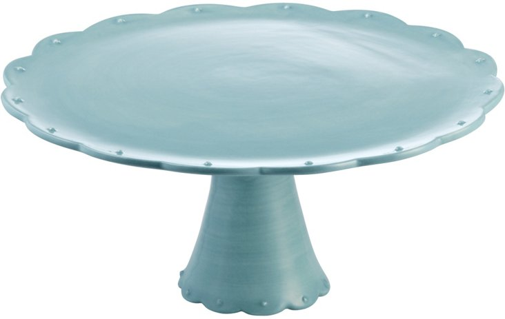 Scallop Cake Plate, Light Blue