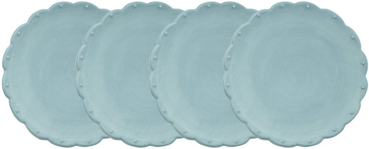 S/4 Scallop Dessert Plates, Light Blue