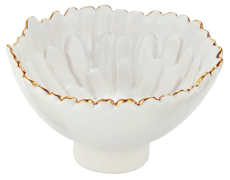 S/4 Small Mum Footed Bowls, White