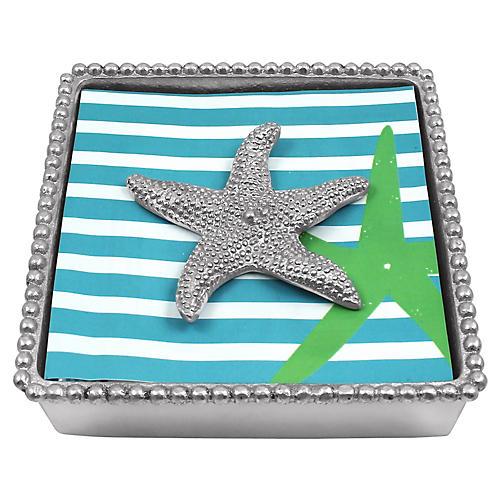 Starfish Beaded Napkin Box, Silver