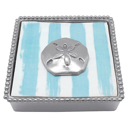 Sand Dollar Beaded Napkin Box, Silver