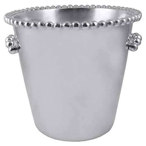 Pearled-Rim Individual Ice Bucket, Silver