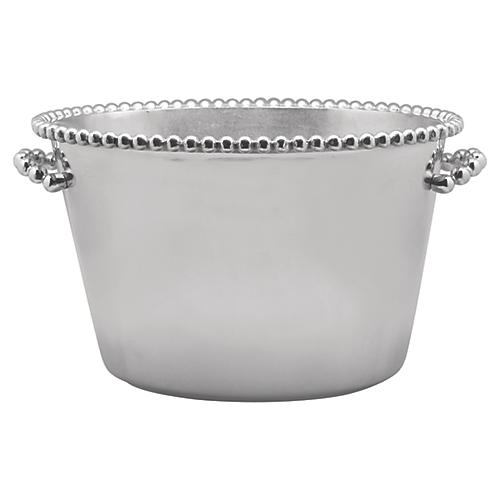 Pearled-Rim Wide Ice Bucket, Silver