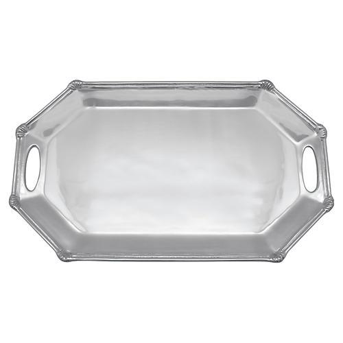 Rattan Long Octagonal Tray, Silver