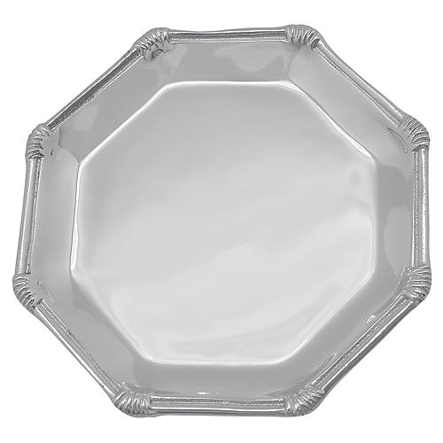 Rattan Octagonal Canapé Plate, Silver