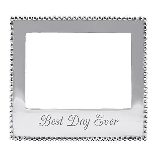 5x7 Best Day Ever Beaded Frame, Silver