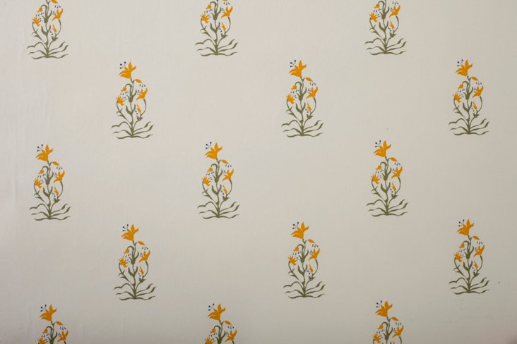 Hand-Screened Mewar Yellow Wallpaper