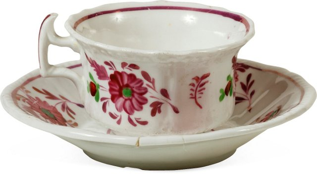 19th-C. Luster Cup & Saucer