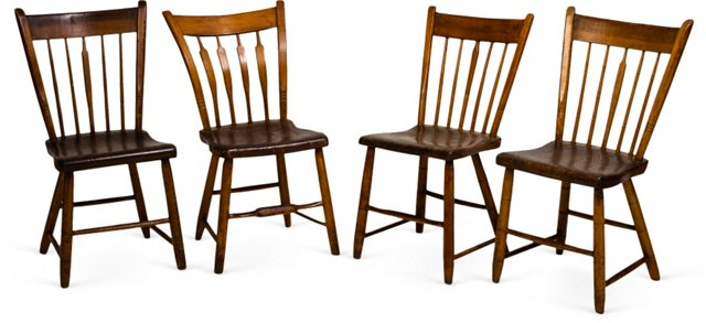 American Pine Side Chairs, Set of 4