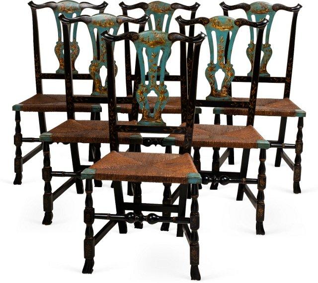 English Gilt & Rush Chairs, Set of 6