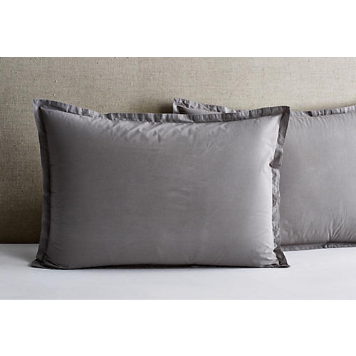 S/2 Nap Percale Shams, Coal