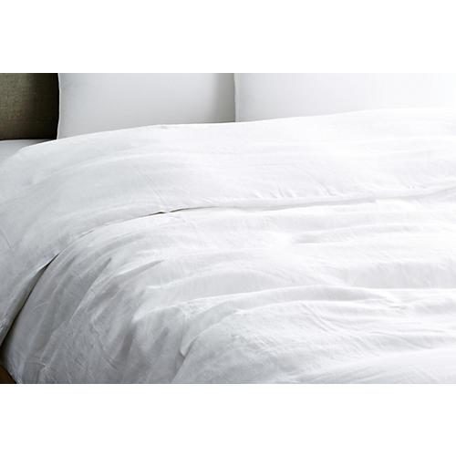 Vintage Linen Duvet Cover, White
