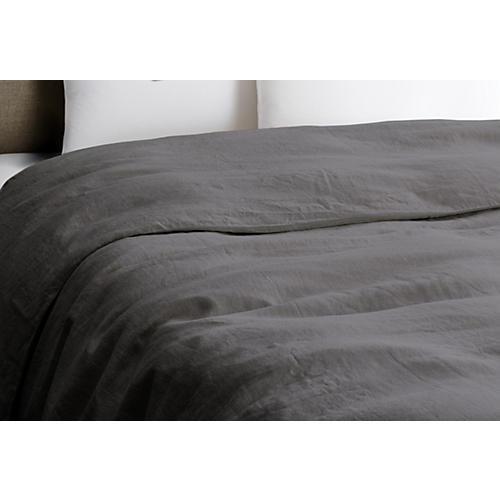 Vintage Linen Duvet Cover, Coal