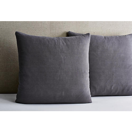Washed Linen Euro Shams, Coal