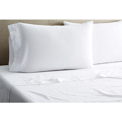 Washed Sateen Sheet Set, White