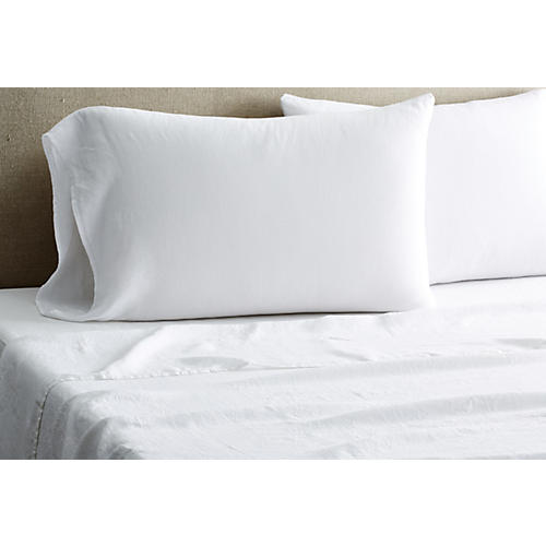Washed Linen Sheet Set, White