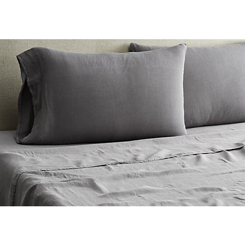 Washed Linen Sheet Set, Coal
