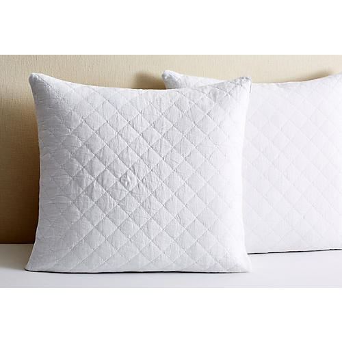 S/2 Ida Quilted Euro Shams, White