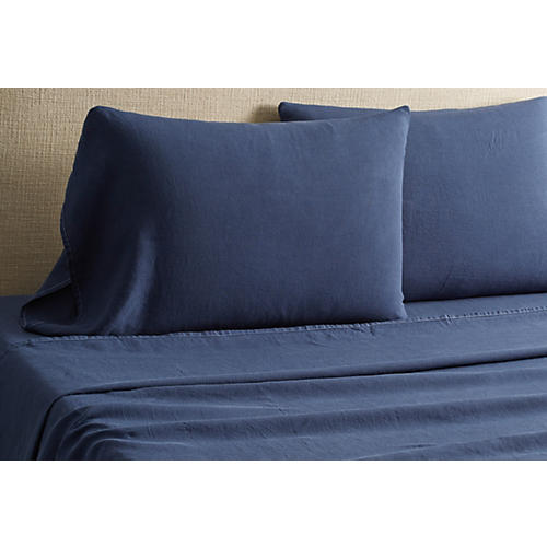 Washed Linen Sheet Set, Indigo