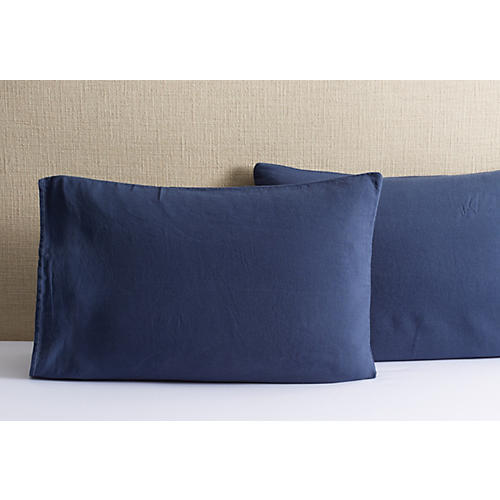 Washed Linen Shams, Indigo