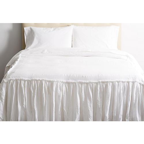Tat Linen Bedspread, White