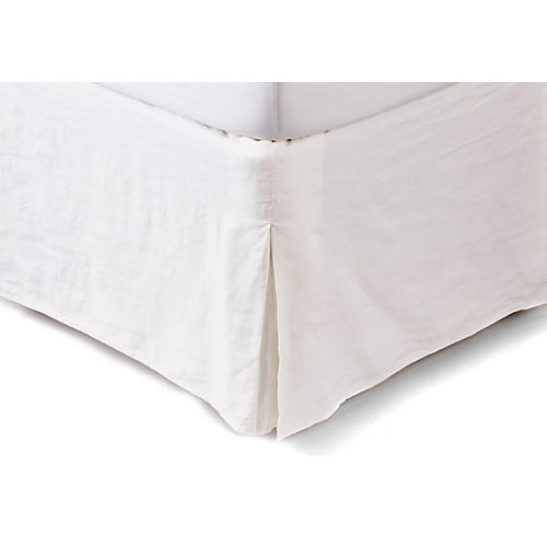 Washed Linen Bed Skirt, White
